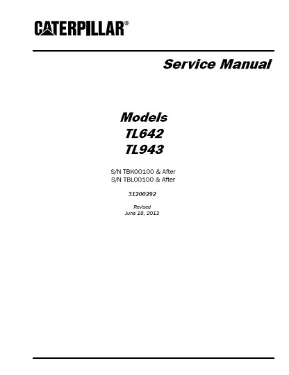 Caterpillar TL642 TL943 Telehandler Service Repair Manual