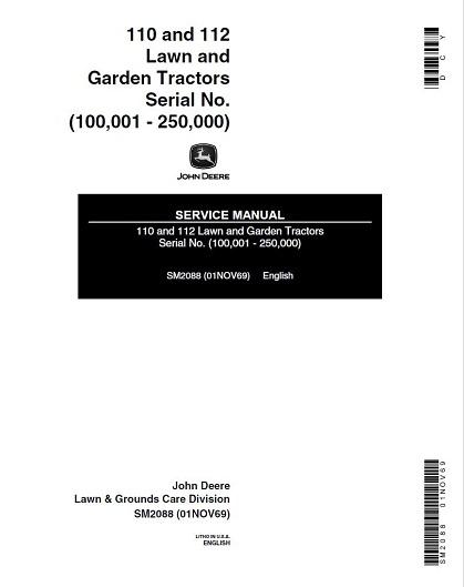 John Deere 110,112 Lawn Garden Tractors Service Manual PDF