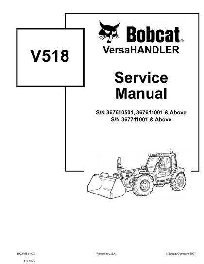Bobcat V518 VersaHandler Service Repair Manual PDF