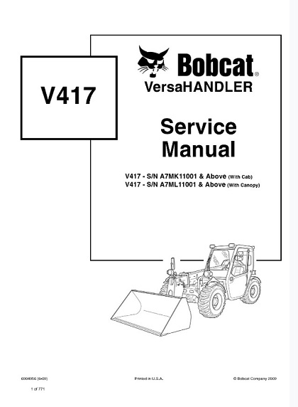 Bobcat V417 VersaHandler Service Repair Manual PDF