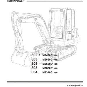 JCB 801.4 801.5 801.6 Mini Excavator Service Manual