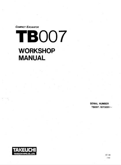 Takeuchi TB007 Compact Excavator Workshop Manual PDF