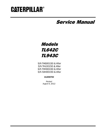 Caterpillar Cat TL642C TL943C Telehandler Service Manual PDF