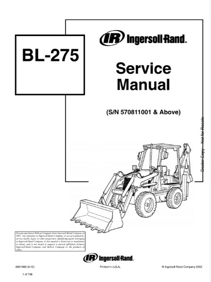 Bobcat Ingersoll Rand BL275 Backhoe Loader Service Manual
