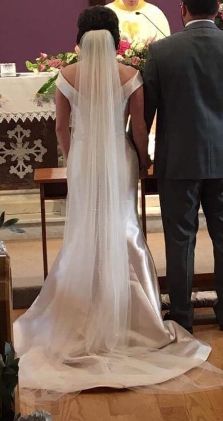 Ronald Joyce Amanda wedding dress  matching veil  Sell My Wedding Dress Online  Sell My