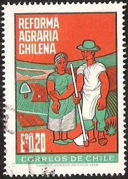 Sello: REFORMA AGRARIA CHILENA Eº 0,20 MULTICOLORde Chile America