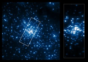 The left side of this collage shows the central part of the young star cluster R136 as it can be seen in the ultraviolet. Due to the high-resolution of Hubble in the ultraviolet the individual stars in this dense cluster can be resolved and studied. The right side shows a pseudo-image, created from the UV spectra collected with the Space Telescope Imaging Spectrograph (STIS). These spectra have been used by scientists to determine the properties of the stars in R136. The boundary of the 17 slit locations is outlined in white in the left image. The long-slit data from the spectrograph have been compressed to the width of the slits and stacked to create a pseudo-image. This allows the slit locations to be matched to stars in the left image.