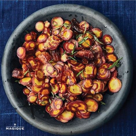 SHAVED CARROTS WITH CHARRED DATES