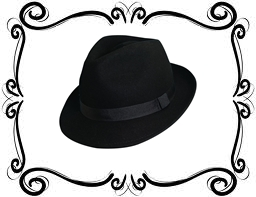 frame with fedora hat