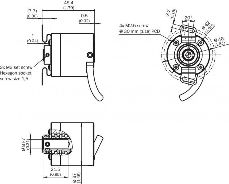 Sick DBS36E-BBCK00100 (1060148) encoder. 8mm, 100ppr, 7