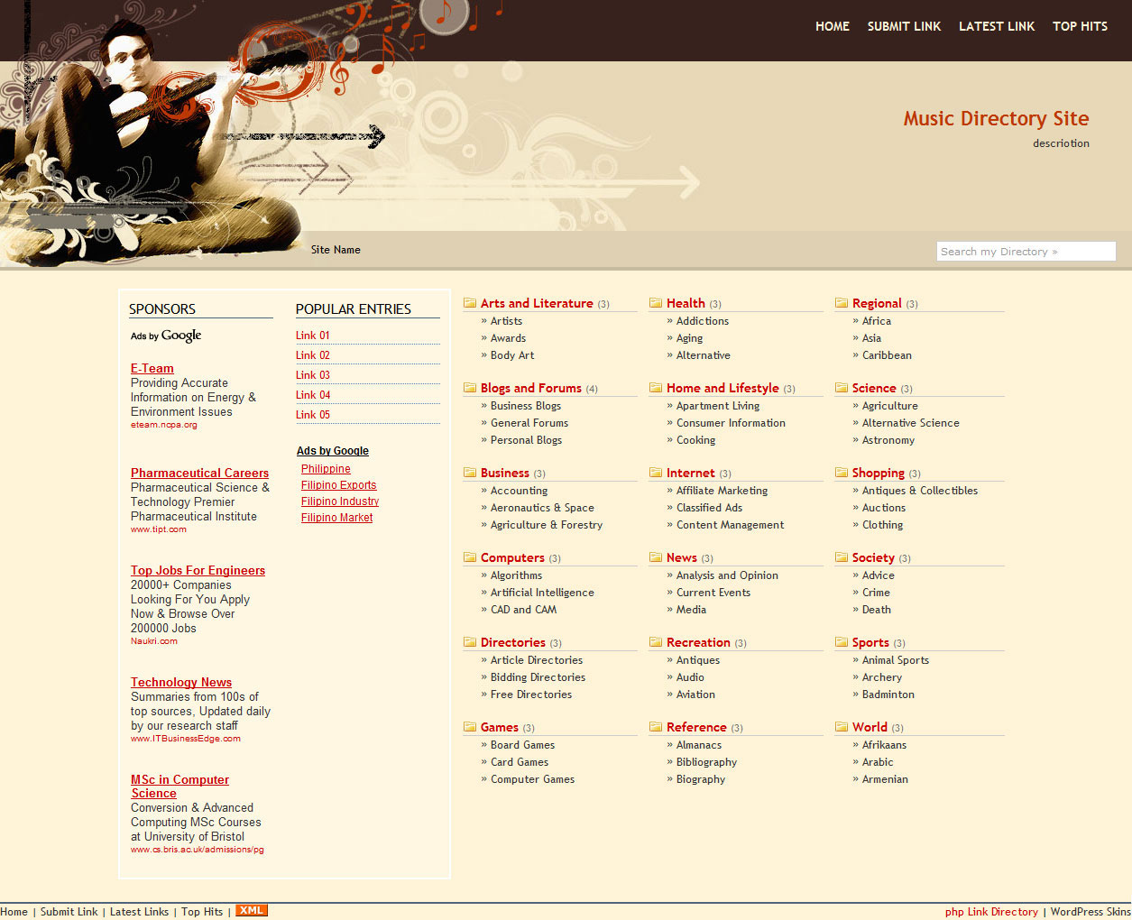 template free download for php