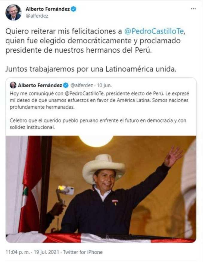 Dios los crea: Alberto Fernández y Cristina Kirchner felicitaron a Pedro Castillo presidente de Perú