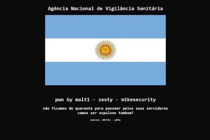 El bochornoso Brasil-Argentina: Hackearon sitio web de Anvisa y dejaron un mensaje provocador