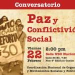 Viernes 22 de febrero en Bogotá: Conversatorio sobre paz y conflictividad social