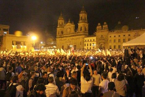 Aspecto de la Plaza de Bolívar en Bogotá el pasado 5 de octubre. Foto Carolina Tejada.