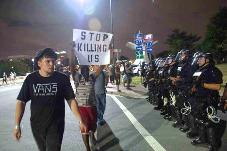 Aspecto de las protestas contra el asesinato de ciudadanos negros en Charlotte, la semana pasada.