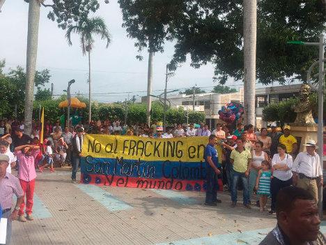 Movilizaciones contra el fracking en San Martín, Cesar.
