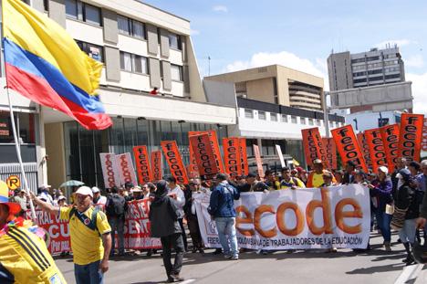 Marcha de maestros en Bogotá. Foto archivo.