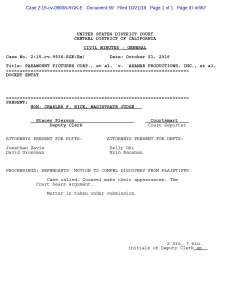 Civil Minutes - General Docket Entry - Axanar Motion to Compel Discovery Ruling