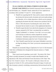 Axanar Plaintiffs' Ex Parte Application for Order