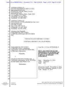Grossman Declaration in Support of Plaintiffs Summary Judgment Motion, cover page