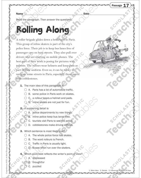 2nd Grade Comprehension Worksheets Along with Rolling Along Close Reading Passage