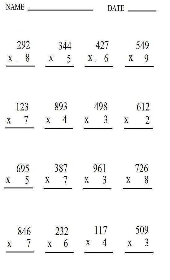 4 Digit by 1 Digit Multiplication Worksheets Pdf Along with Worksheets In Multiplication Worksheets for All