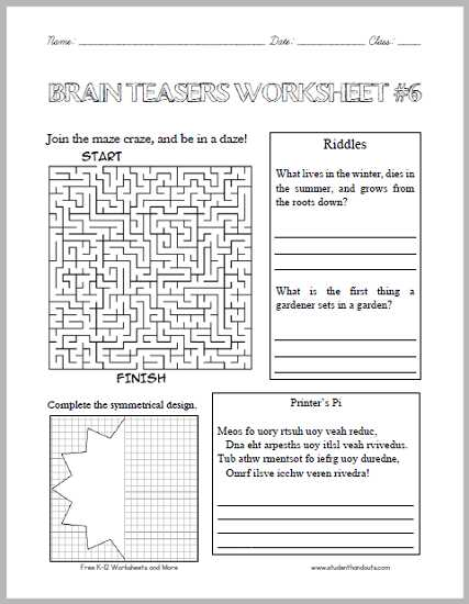 6th Grade Brain Teasers Worksheets or Brain Teasers Worksheet 6 Here is A Fun Handout Full Of Head