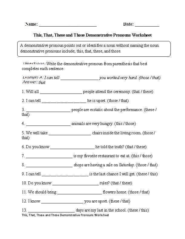 6th Grade English Worksheets Along with This that these Those Demonstrative Pronouns Worksheet