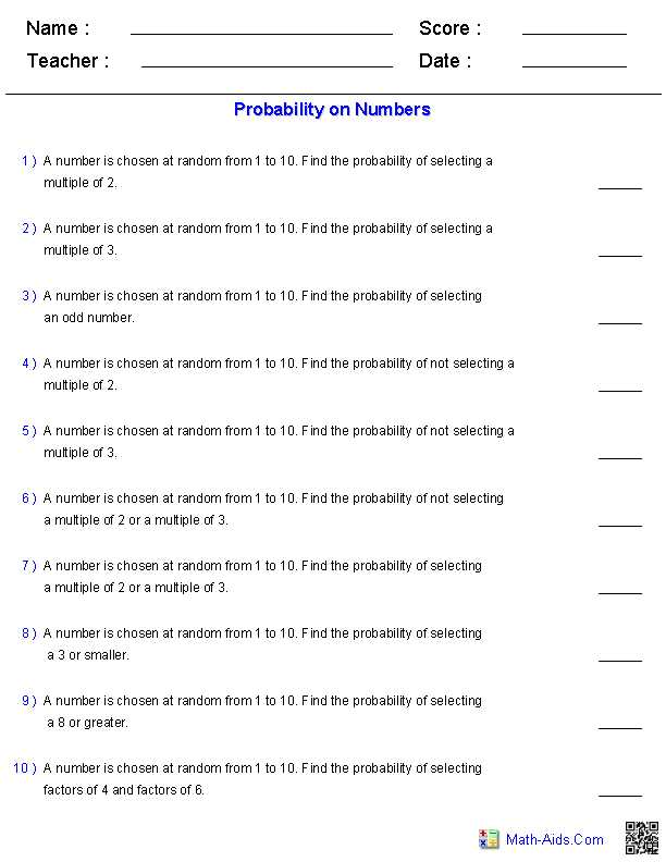 6th Grade Math Worksheets with Answer Key and Probability Worksheets On Numbers Math Aids