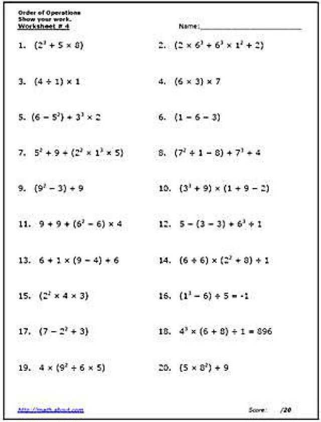 7th Grade order Of Operations Worksheet Pdf together with Practice the order Of Operations with these Free Math Worksheets