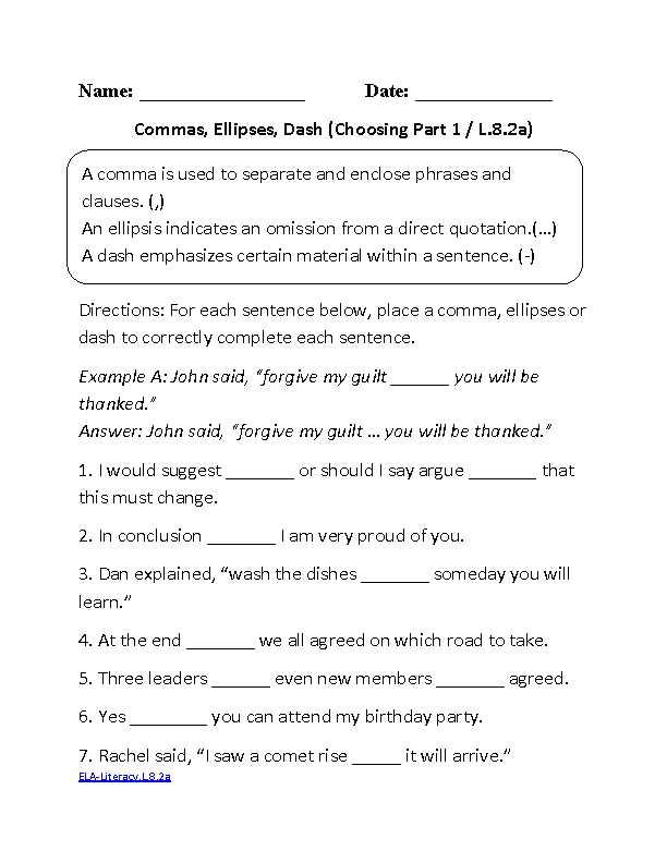 9th Grade English Worksheets or 8th Grade Mon Core Language Worksheets