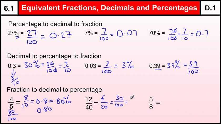 Act Math Worksheets and Math Decimal Worksheets Equivalent Fractions Decimals Percentages