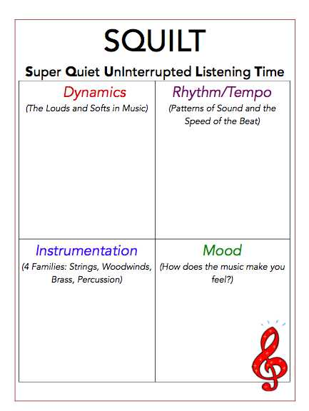 Active Listening Worksheets with Music History and Notebooking for the Birds Squilt Lesson 10