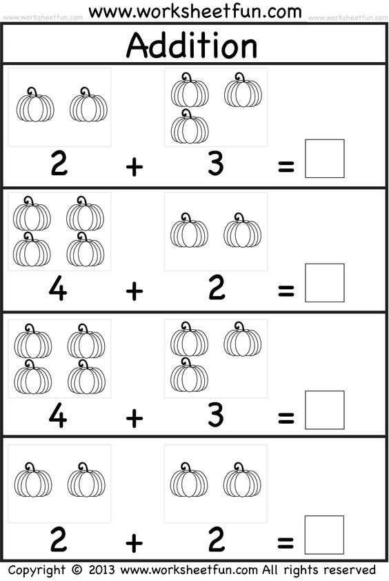 Addition and Subtraction Worksheets for Kindergarten as Well as Kids Practice Adding Single Digit Numbers and Writing the Sums
