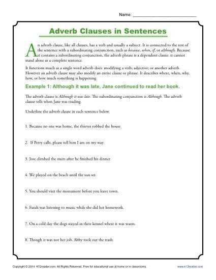 Adjective and Adverb Worksheets with Answer Key Along with Adverb Clauses In Sentences