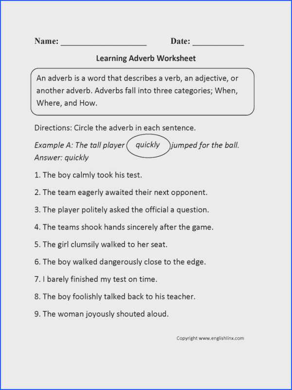 Adjective and Adverb Worksheets with Answer Key Also Adverb Worksheets