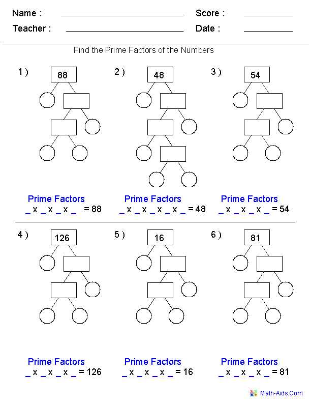 Algebra 1 assignment Factor Each Completely Worksheet with Prime Factorization Trees Factors Worksheets Use for Homework or In