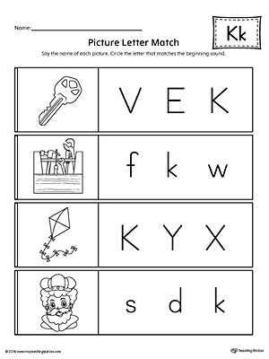 Alphabet Worksheets for Pre K and Picture Letter Match Letter K Worksheet