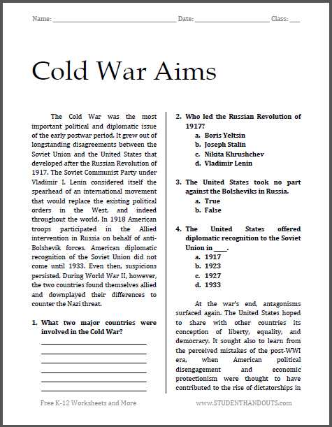 America the Story Of Us Episode 8 Worksheet Answer Key Also Cold War Aims