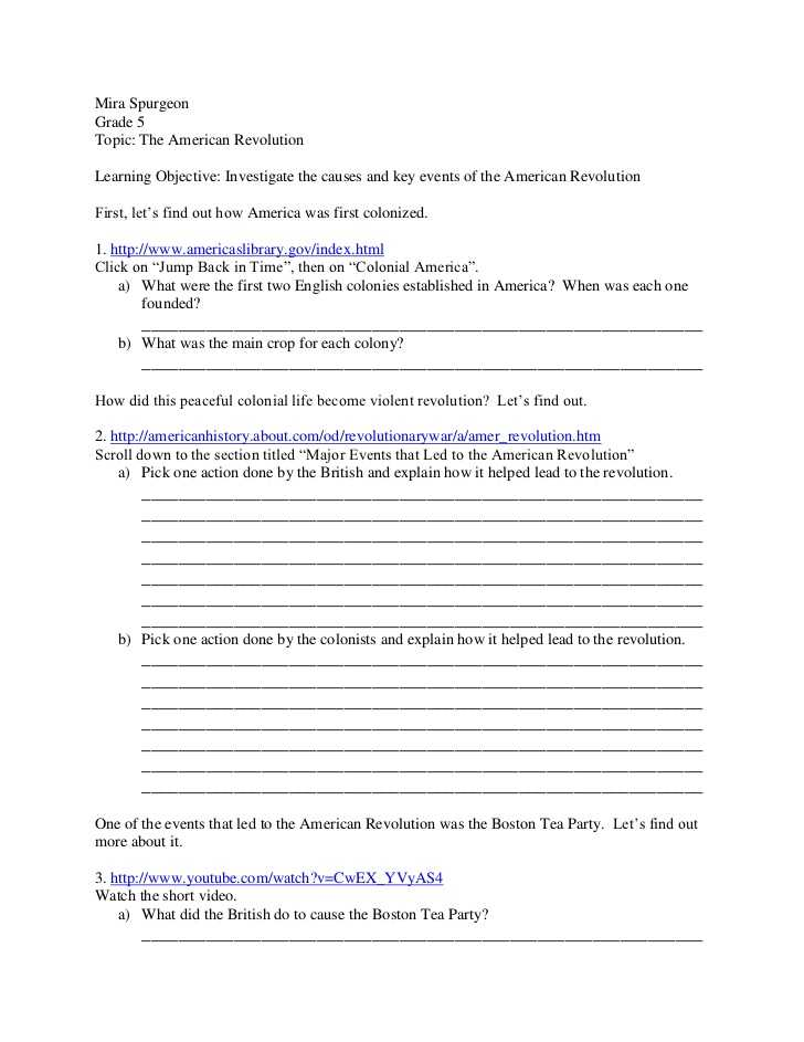 America the Story Of Us Revolution Worksheet Answers with American Revolution Webquest