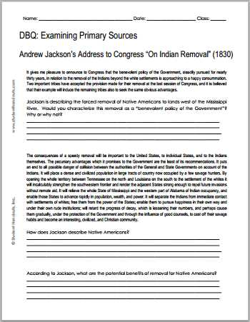 America the Story Of Us Worksheet Answers Along with andrew Jackson Indian Removal 1830 Free Printable Dbq
