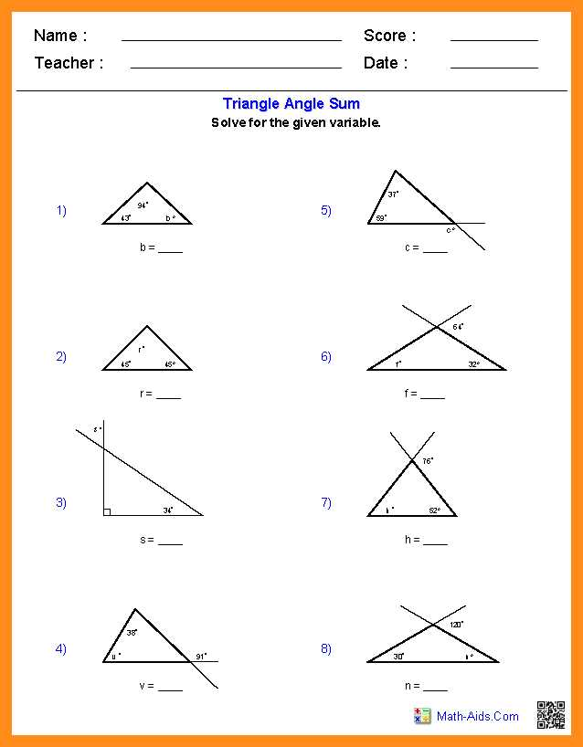 Angle Bisector Worksheet Answer Key Also Triangle Angle Sum theorem Worksheet Doc Kidz Activities