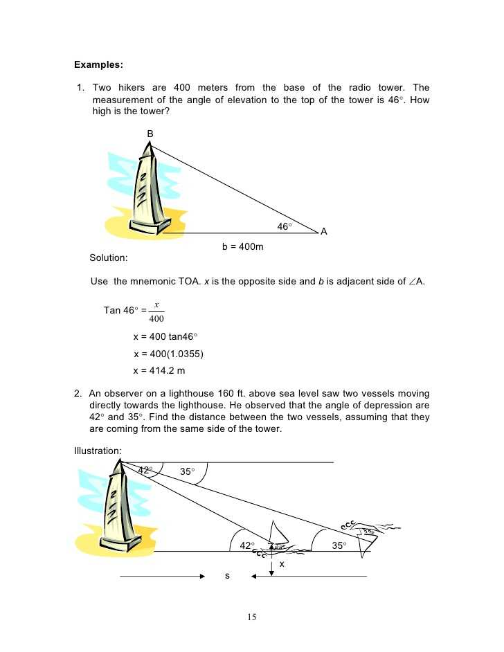 Angle Of Elevation and Depression Worksheet with Answers Also assignment 4