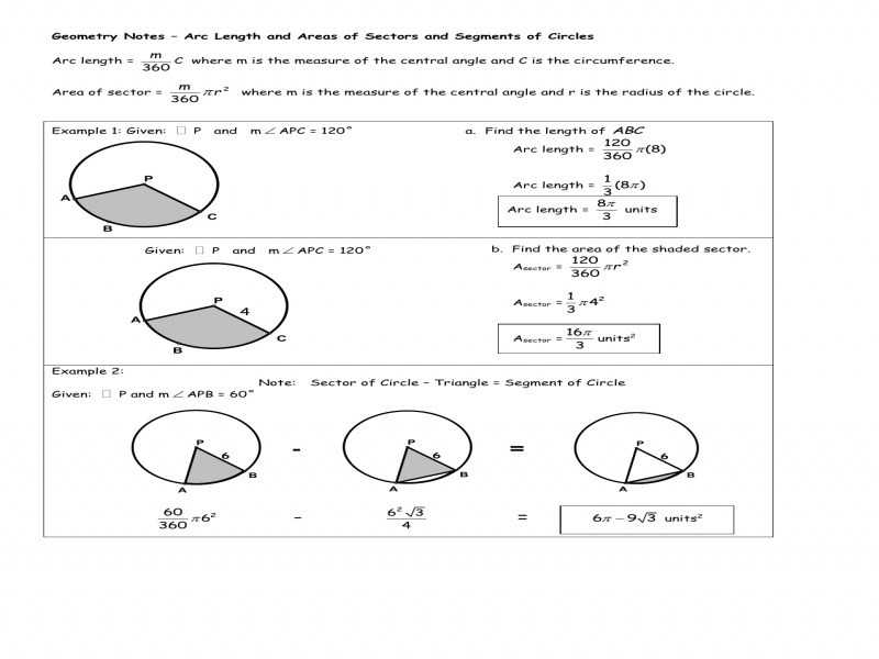 Arc Measure and Arc Length Worksheet together with Arc Length and Sector area Worksheet