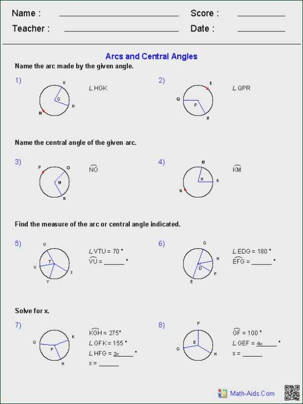 Arcs and Central Angles Worksheet together with Angles Worksheet