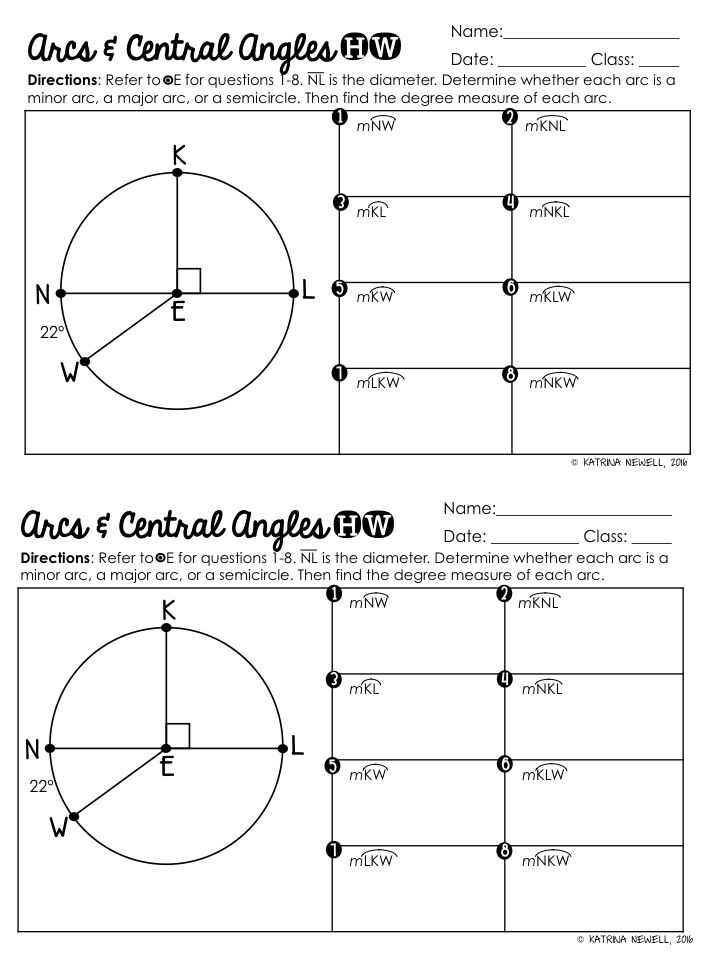 Arcs and Central Angles Worksheet with Central Angles and Arcs In Circles Graphic organizer
