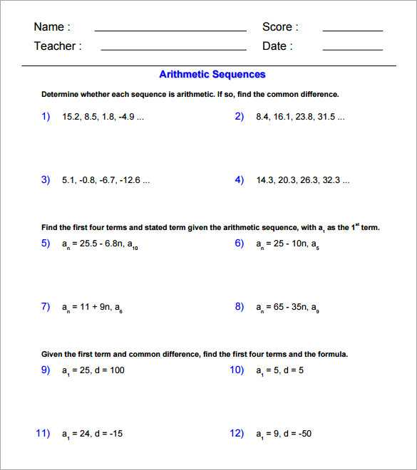 Arithmetic Sequence Worksheet 1 Along with Arithmetic Sequence Worksheets with Answers Guvecurid