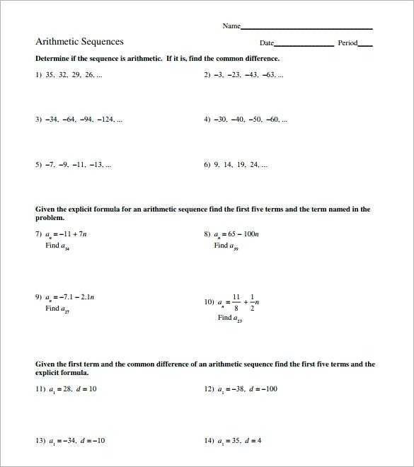 Arithmetic Sequence Worksheet 1 Also Arithmetic Sequence Worksheet Arithmetic Sequence Worksheet Answers