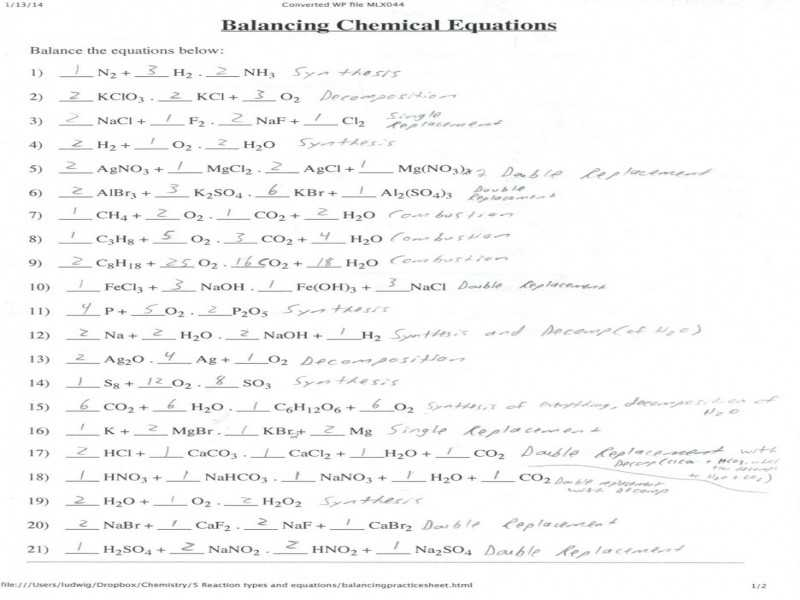 Balancing Chemical Equations Worksheet or 12 Unique Balancing Chemical Equations Practice Worksheet with